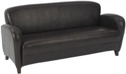 Mocha Eco Leather Sofa with Cherry Finish Legs $528