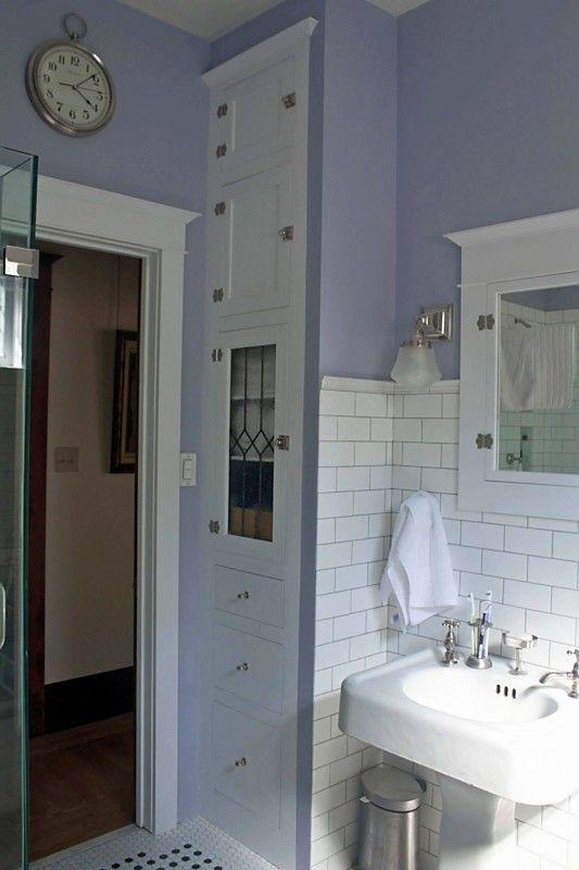 Vintage Tile Bath Lavender Walls