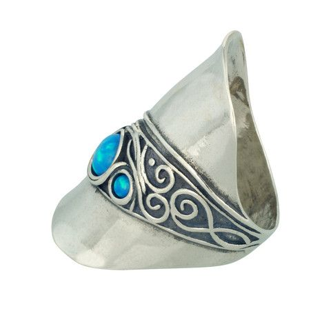 Changing Tides (CT008) A real gem, this stylish 925 sterling silver whole piece ring features classy spiral artisan design, swirled around 3 opal stones.