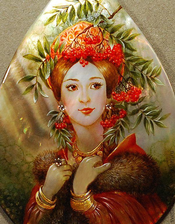 Купить Рябинушка - лаковая миниатюра, кулон, берегиня, авторская ручная работа, живопись маслом