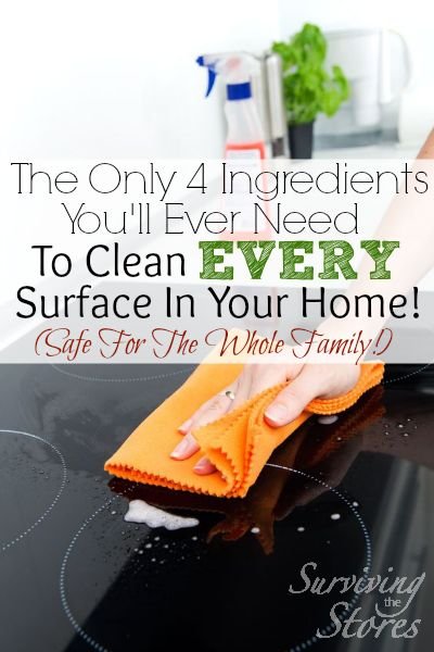 These four ingredients are all that you will ever need to clean every surface of your house!  There is no need to wear gloves when using these cleaners because they are completely safe for the entire family!