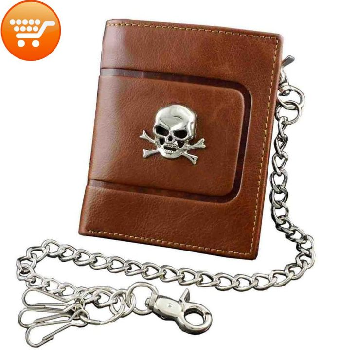 Genuine Leather Biker Chain Wallet with Skull Emblem and Chain