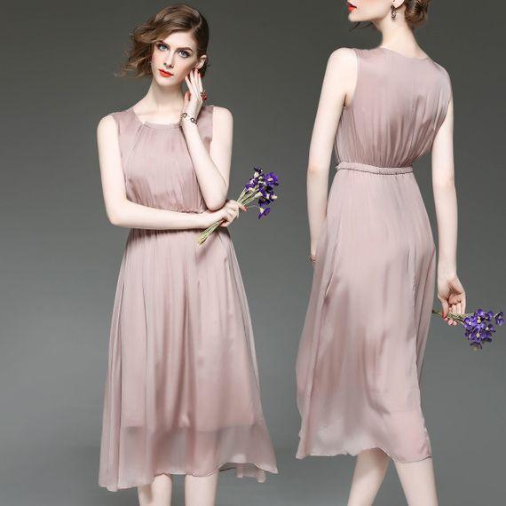 여름 2017 새로운 실크 드레스 브랜드 할인 여성 의류 매장 카운터 정품 여성 민소매 실크 드레스