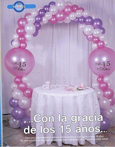 ♥ Compartiendo con mis amigas ♥: ♥ Decoración con globos para 15 años ♥