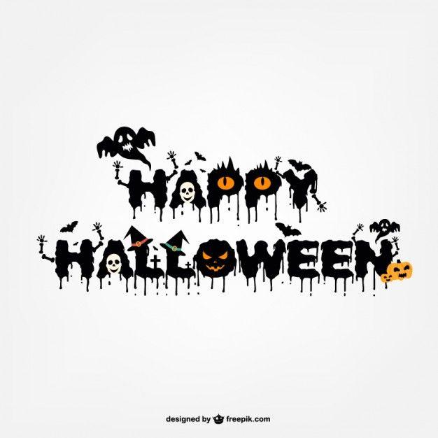 Typography halloween logo design Free Vector