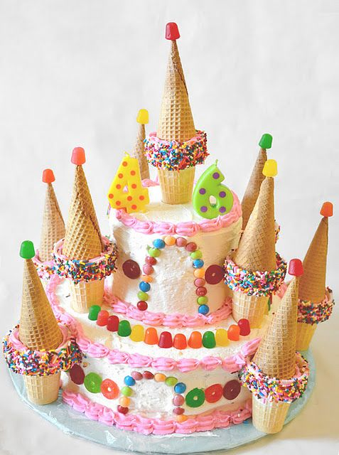 We could do Tiffany's ice cream cone cupcakes for the towers! homemade castle cake - really sweet :)