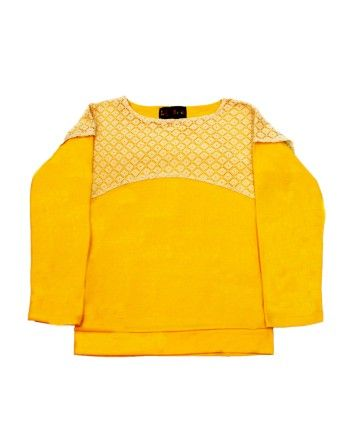 Yellow Cotton Basic Top  #ohnineone #kids