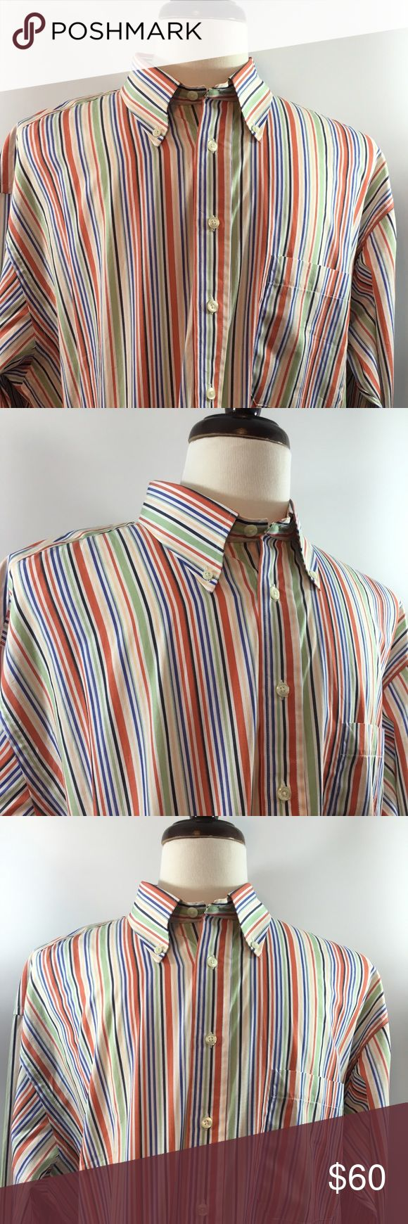🔥 Men's Burberry XL Multicolored Shirt 🔥 Men's Burberry XL Multicolored Striped Shirt. In excellent pre owned condition and free of any rips or stains and from a pet free and smoke free home. Beautiful Shirt for any occasion! Thanks for shopping my closet! Burberry Shirts Casual Button Down Shirts