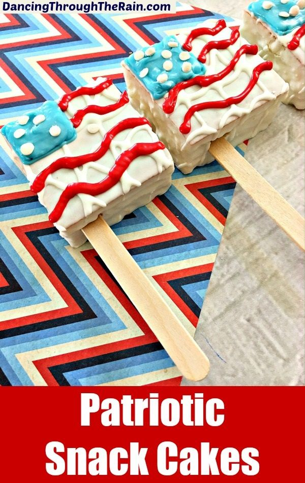 Patriotic Snack Cakes - These Patriotic Snacks are perfect for your next Memorial Day, 4th of July or Labor Day gathering! A red, white and blue dessert will fit right into the festivities!