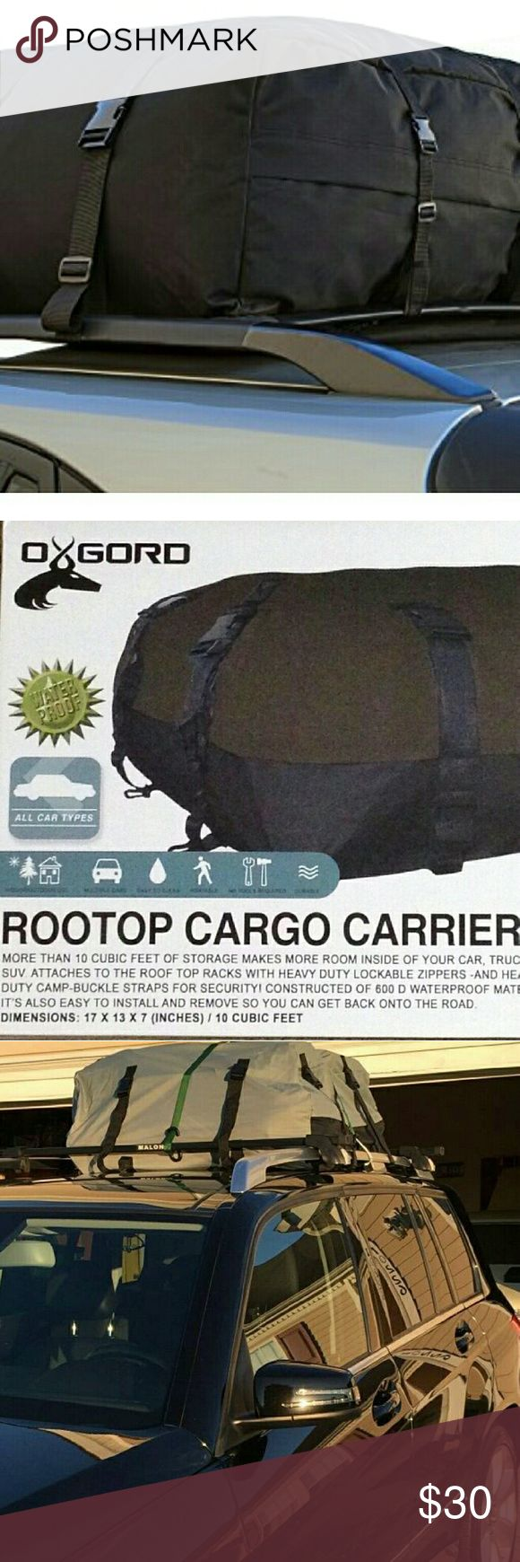10-Cf Roof Top Cargo Rack Water/Windproof Carrier 10 CUBIC FOOT ROOF CARGO CARRIER: Double your vehicle's cargo space and free up your Car, Truck, or SUV's interior with this All Weather Proof Rooftop Cargo Carrier. Perfect for road trips, vacations, or equipment hauling. Heavy duty lockable zippers secure your luggage and belongings while Cam-Buckle straps allow for easy installation and removal of the roof rack bag. Allow yourself to take everything you need for your next trip with OxGords…