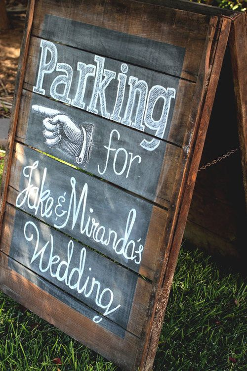"""Customizable, A-frame chalkboard """"Parking"""" sign made from fruit-drying racks. The weathered wood gives just the right vintage-rustic feel to this sign that directs wedding guests to parking area. This item amd more available to rent from AmericanVintageRentals.com"""