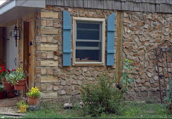 cordwood building - looks like stone when weathered.  Sturdy & Great insulation value. Unusually beautiful