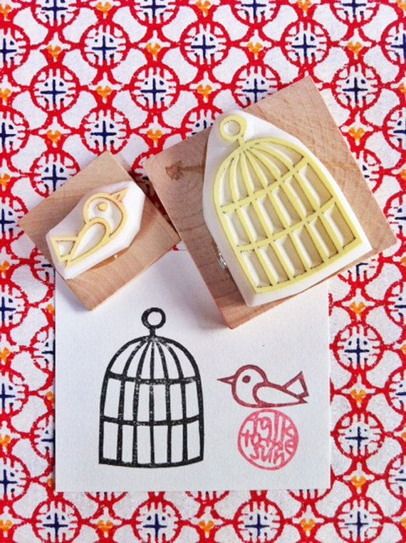 bird hand carved rubber stamp handmade rubber by talktothesun, $16.00