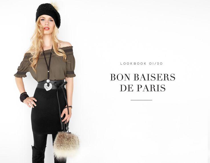 BON BAISER DE PARIS  //  FRENCH CONNECTION #offtheshoulder #khaki #neutral #belt #heart #blouse #skirt #stripes #neutre #ton #kaki #mode #glam #fashion #femme #women #lookbook #fw16