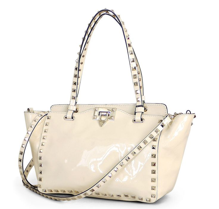 Valentino Garavani Patent Leather Rockstud 2way Tote Bag