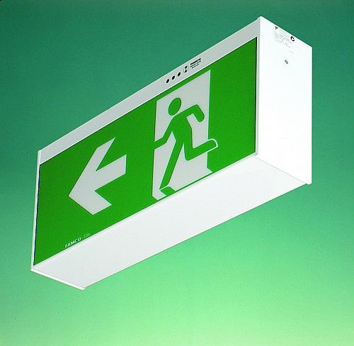 FAMCO F9927/32 - 32M viewing fluorescent FAMCO F9927/48 - 48M Viewing fluorescent Universal JUMBO range of clean well proportioned EXIT signs for increased viewing distances.  Zinc coated steel body, finished in white powdercoat, acrylic diffuser.   LED and T8 verions available