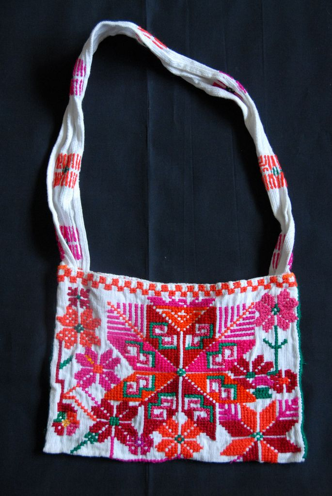 Tenek Bag Mexico | by Teyacapan. This talega or woman's shoulder bag was purchased in La Escalera, Huehuetlan, San Luis Potosi in March 2010. The bag is made from commercial counted cross stitch fabric which is the typical material used by most Tenek women who make bags and quechquemitls