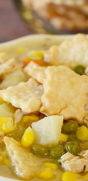 Easy Chicken Pot Pie Soup with Pie Chips!