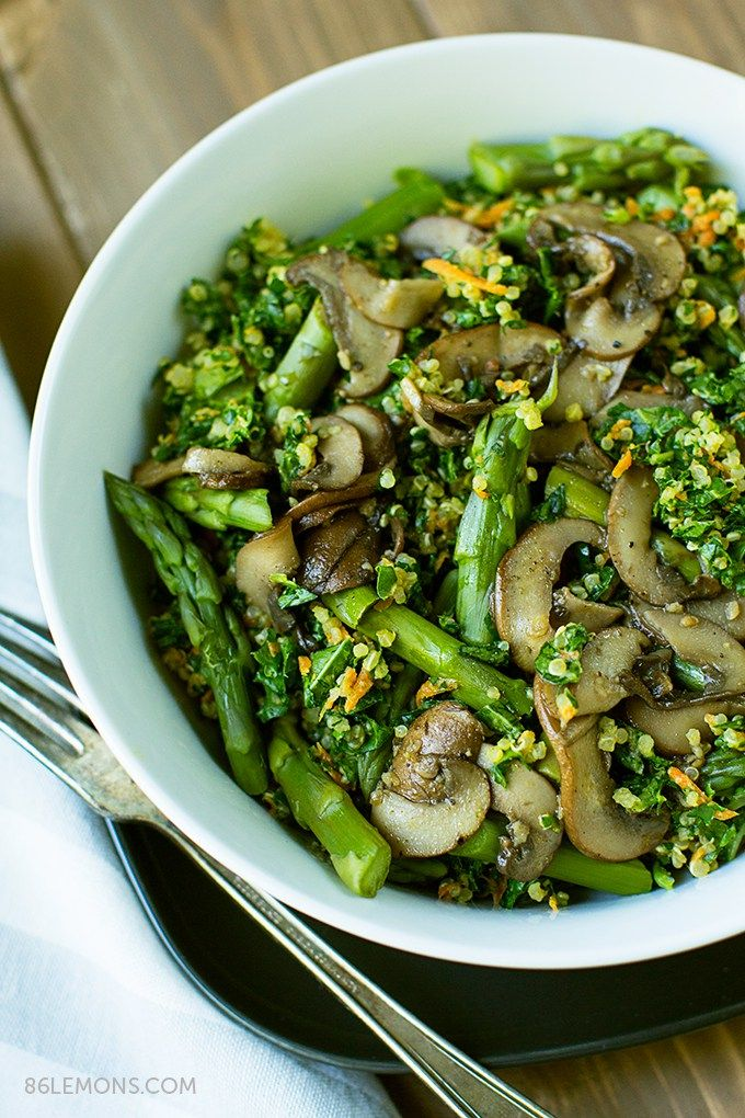 Quinoa Kale Bowl with Mushrooms and Asparagus by 86lemons: A hearty, healthy recipe that is full of flavor and nutrition. Vegan, gluten-free, anti-inflammatory, low fat, no nightshades. #Salad #Quinoa #Kale #Asparagus #Mushrooms #Health