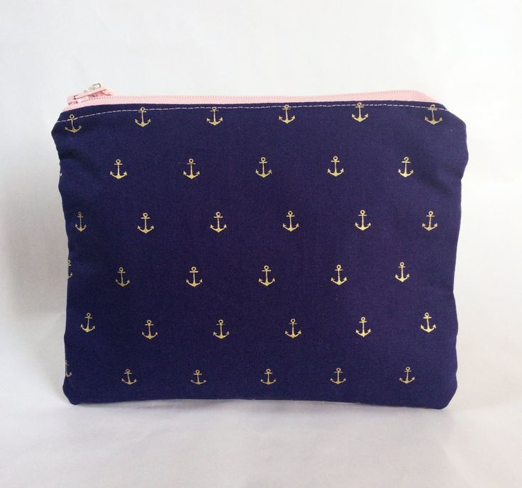 Metallic Anchor Navy Gold Makeup Bag/Pouch by strawberriesncreamm on Etsy