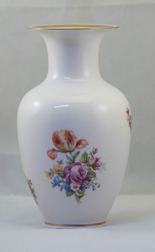 Vintage Reichenbach Fine China Medium Floral Porcelain Vase 7  Tall