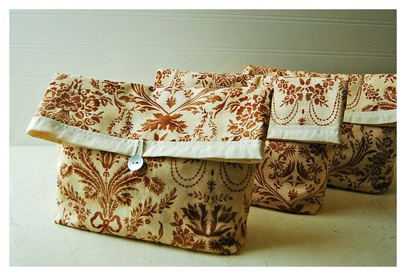 brown bags and purses Bridesmaid Clutch Damask Bag set by hoganfe