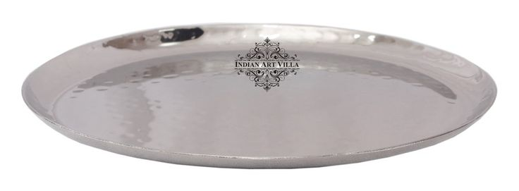 Hammered Round Steel Serving Plate Tray Platter, For Serving Dishes,Tableware, Set Of 2