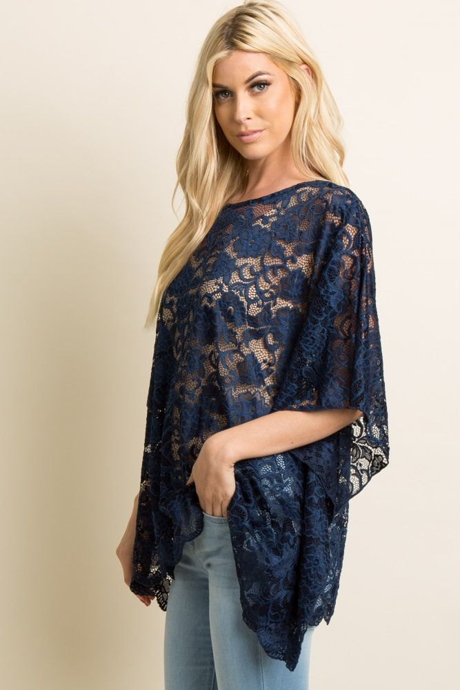 1b477d8db3f133 Navy Blue Sheer Rose Lace Poncho Top in 2019 | Beauty within ...