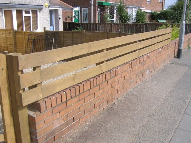 DIY Wooden Fence On Top Of Low Wall