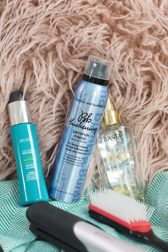 When it comes to styling my hair my main priorities are volume, smoothness and texture but I'm also a big fan of a low maintenance look. A couple of my favourite products are the John Frieda Luxurious Volume Core Restore, Kerastase Elixir Ultime Mist and Bumble & Bumble's Dry Spun Finish.