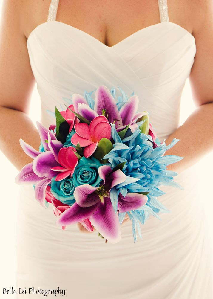 artificial-wedding-bridal-bouquet-colourful-bright-beach-lily-frangiani-blue-purple-pink