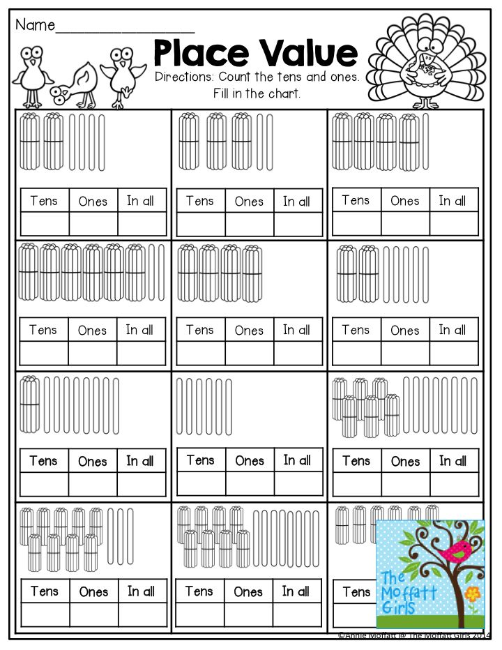 Place Value- Fill in the tens, ones and in all boxes by ...