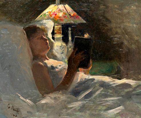 Georg Pauli: Reading Light (1884)George Pauly, Book Art, Polar Bears, Reading Book, Pauly 18551935, Reading Lights, Di George, Pauly 1855 1935, Reading Lamps