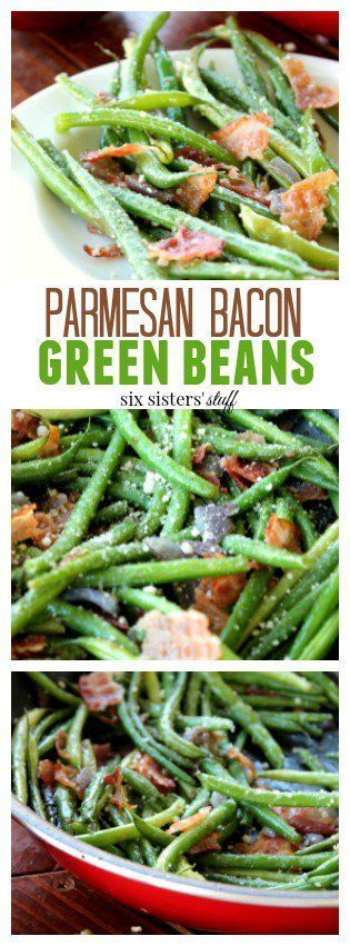 Parmesan Bacon Green Beans recipe - Six Sisters' Stuff | This will be a well-loved vegetable dish at your holiday meal or dinner table! #recipes #christmasdinner