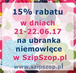 Rabaty, rabaty, dla Mamy i Taty:) w SzipSzop.pl 15% rabatu na ubranka niemowlęce w dniach 21-22.06.17. Wpadnijcie i odbierzcie swój rabat na zakupach:)  https://www.szipszop.pl