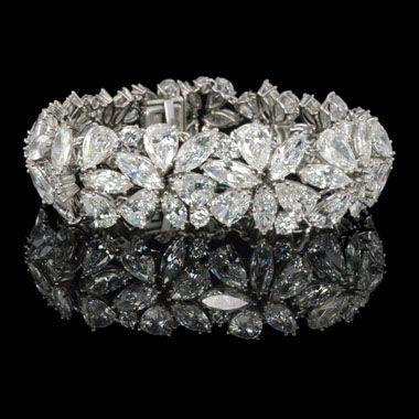 http://rubies.work/0517-sapphire-ring/ HARRY WINSTON, New York, c1970, Marquise, pear & round diamond Abstract bracelet.