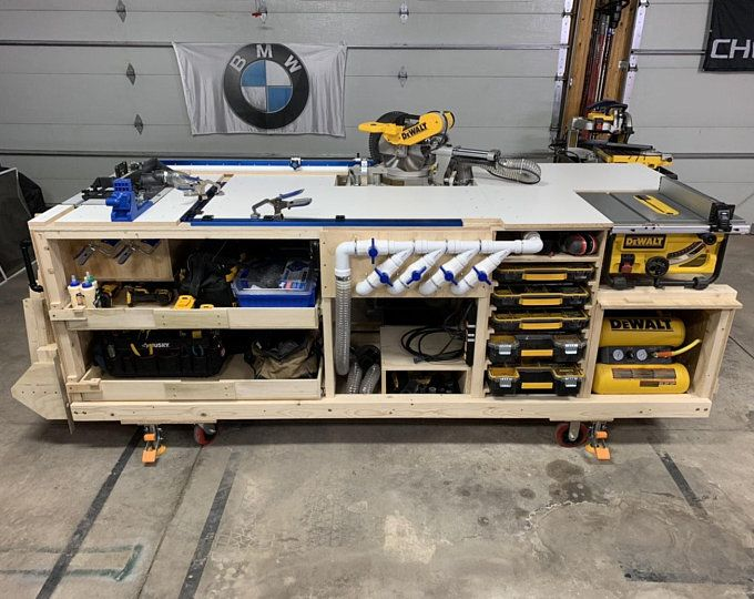 PDF Mobile Project Center Workbench Plans | DeWalt | Kreg | Miter Saw Stand | Table Saw Outfeed | Router Table | Planer Stand | Dust Collect