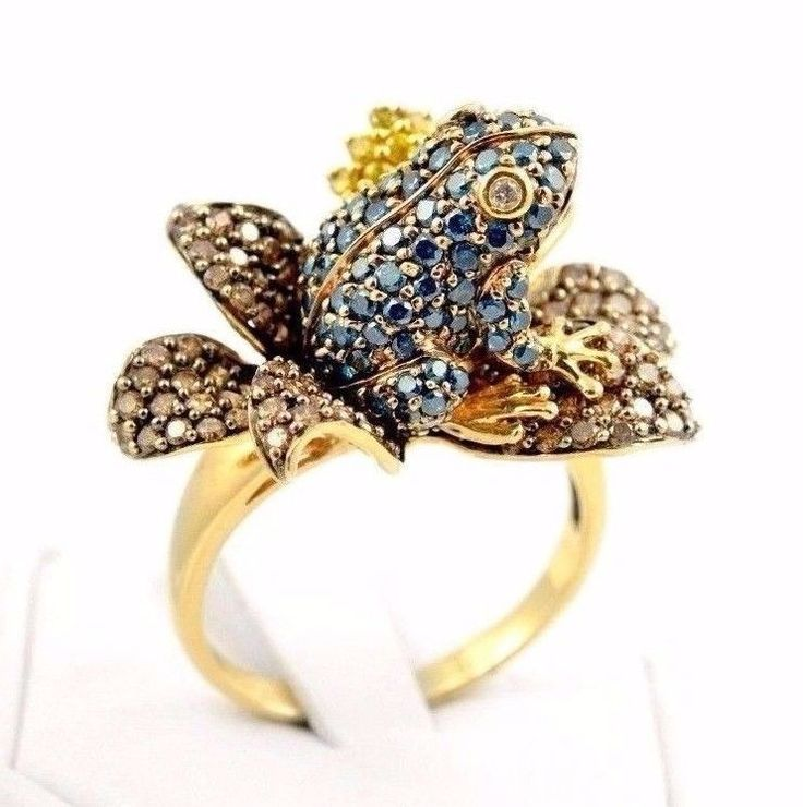 14k Gold Pave Set Blue Yellow  Diamond Frog Flower Ring #cocktail #ring #fancy #color #diamond #fine #jewelry