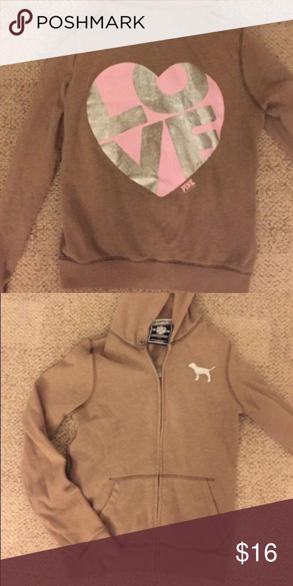 VS pink hoodie Nude zip up hoodie. Great condition but missing the drawstring PINK Victoria's Secret Tops Sweatshirts & Hoodies