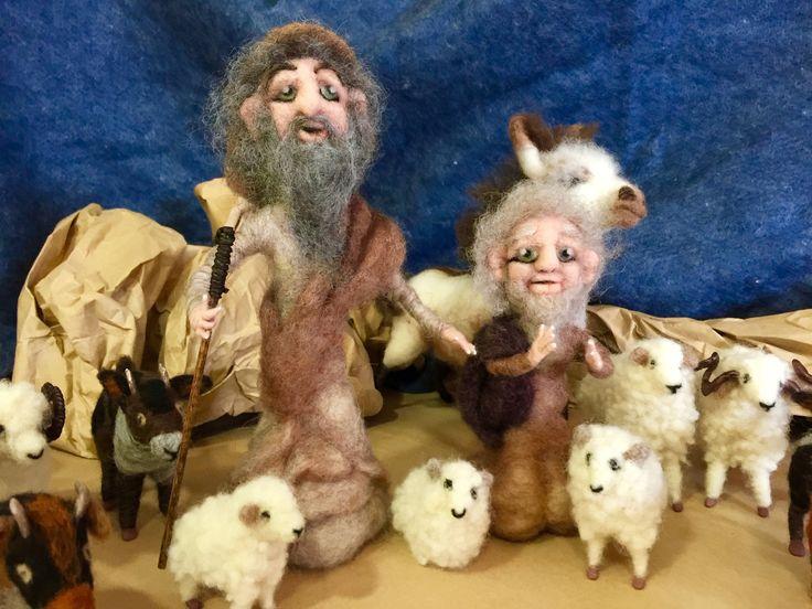 pastores de lana, figuritas belén, muñecos Waldorf, pastores de belén, nacimiento de lana, ovejas de lana, cabras de lana, burro de lana de Wonderwoolart en Etsy