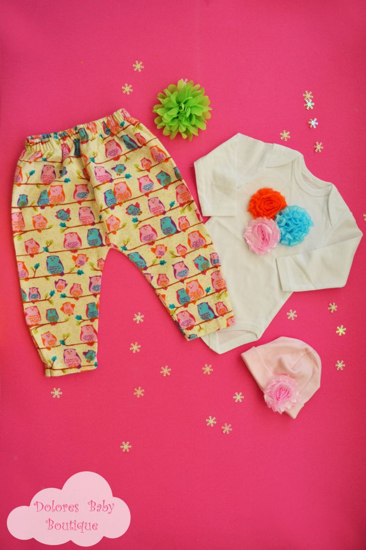 Baby Girl Set~ Owl Baby Pants~ Cotton Onesie~ Baby Cotton Cap~ Christmas gift~ newborn baby~ hospital outfit~ birthday gift~ baby flower cap by DoloresBabyBoutique on Etsy