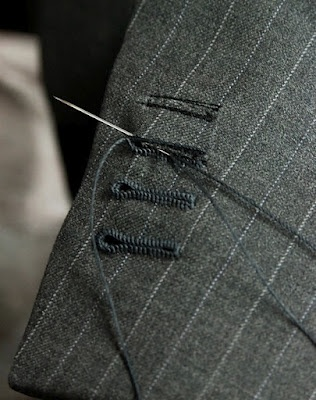 hand sewn button holes....