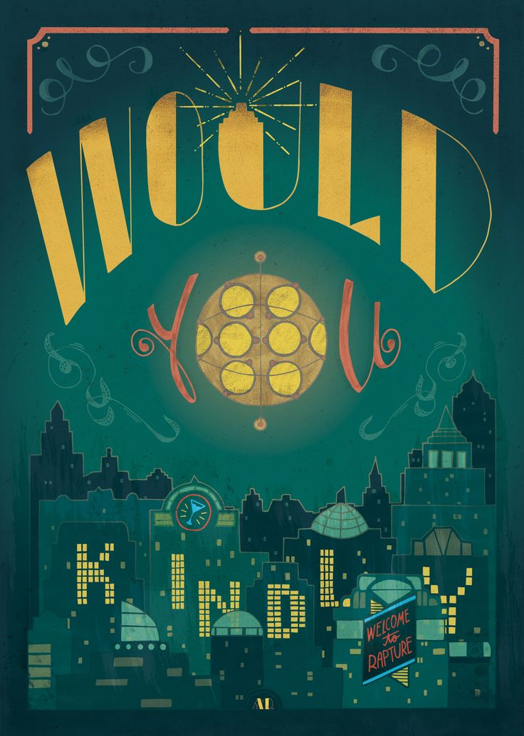 Illustration and hand-lettering fanart dedicated to video game series Bioshock by Anna Dittmer (ribbitknight).