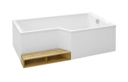 Jacob Delafon - Baignoire 150 x 80/60 cm Bain Douche Acrylique Version gauche NEO - CE6D119L - Plomberie sanitaire chauffage