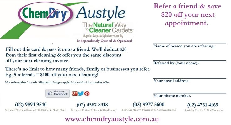 Are you an Austyler yet? Refer a friend & save $20 off your next appointment!  Go to our website & print off the rewards card. There's no limit to how many friends, family or businesses you refer.  E.g 5 referrals = $100 off your next cleaning. T's & C's apply - see website for details: http://www.chemdryaustyle.com.au/rewards/