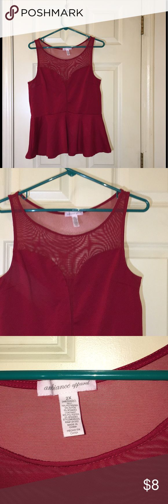 Red Peplum Top by Ambiance Apparel 2X Red peplum tank top.  Neck area has mesh.  Made by Ambiance Apparel.   Size 2X.  Great condition.  Important:   All items are freshly laundered as applicable prior to shipping (new items and shoes excluded).  Not all my items are from pet/smoke free homes.  Price is reduced to reflect this!   Thank you for looking! Ambiance Apparel Tops Tank Tops