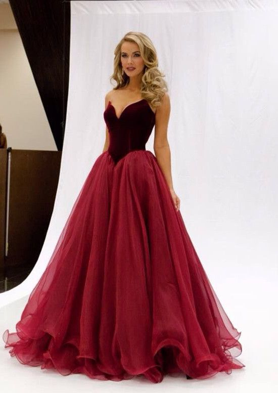 797420cd6c A-line Strapless Ruching V Neck Red Long Prom Dresses from SheDress ...