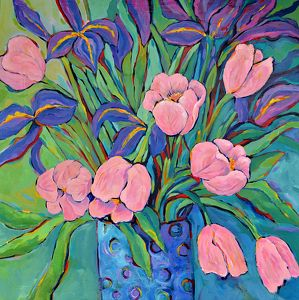 Artists Of Texas Contemporary Paintings and Art - Irises and Tulips - Original Abstract Painting by Texas Contemporary Artist Filomena de Andrade Booth