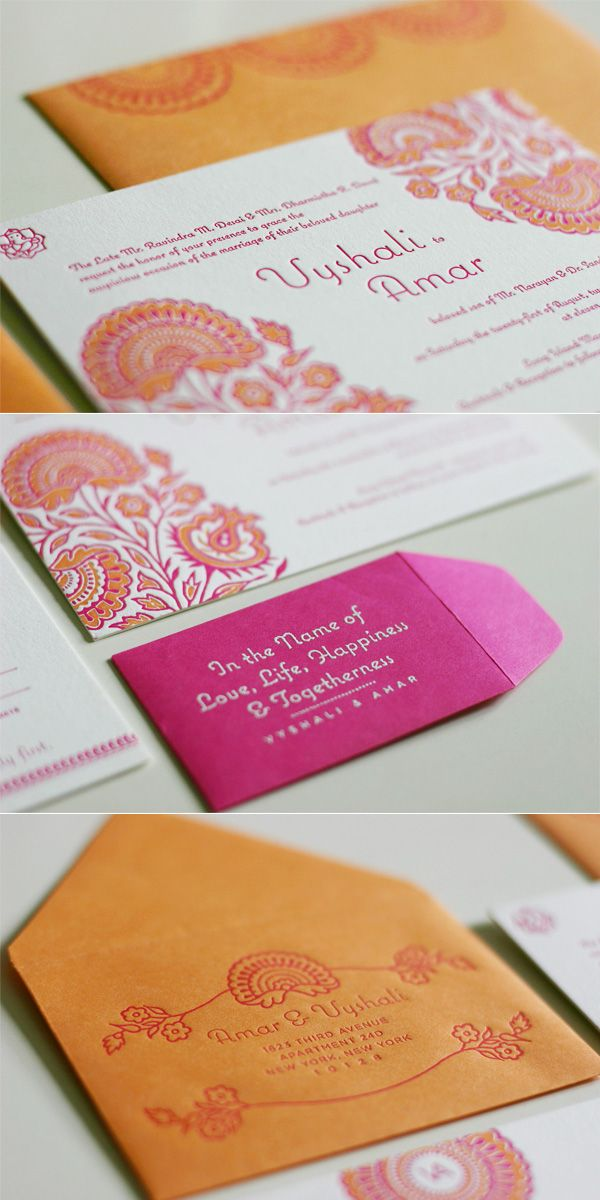 Tangerine and Fuschia letterpress wedding invites. Gorgeous. This would be great for any occasion.