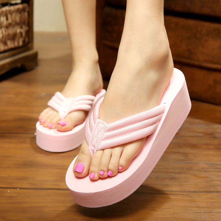 Lady Summer Beach Bath Slippers Open Toe Casual Wedge Sandals Women Shoes Flip Flops Comfort Youth Girls